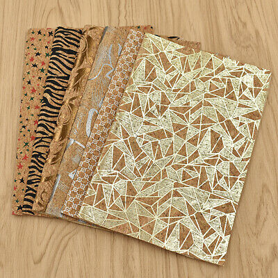 A4 Vintage Soft Cork Synthetic Leather Fabric Sheet Gold DIY Material Craft
