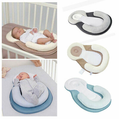 Infant Newborn Baby Anti Roll Pillow Sleep Prevent Flat Head Cushion Soft Pad UK