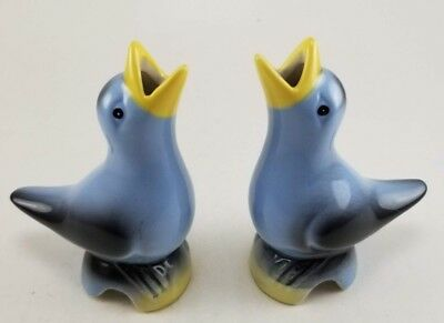 PAIR! Vintage Ceramic / Porcelain Blue & Black Pie Vent Pie Birds NEW