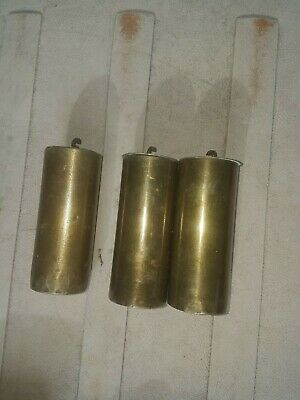 Antique 3 Brass Long Case Grandfather Clock Lead Weights
