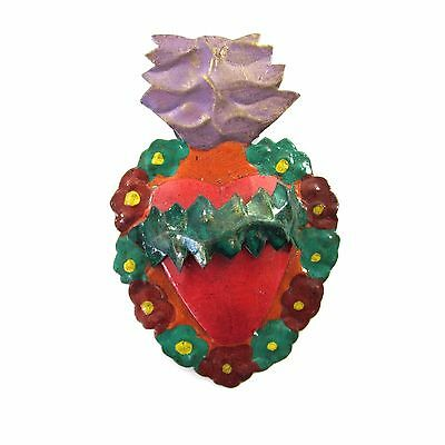 Sacred Heart Tin Milagro Mexican Folk Art Hand Painted Wall Hanging Ornament