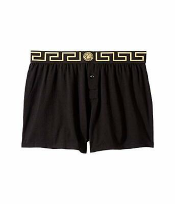 Versace Men's Iconic GRECA BORDER Black Jersey Cotton Bielastic Boxer Size M