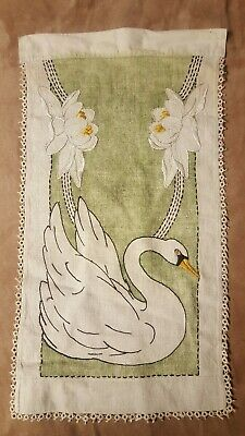 CLASSIC ANTIQUE ARTS CRAFTS MISSION STYLE STICKLEY ERA EMBROIDERED LINEN Swan