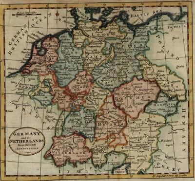 Germany Netherlands Switzerland 1792 Kitchin charming small antique map