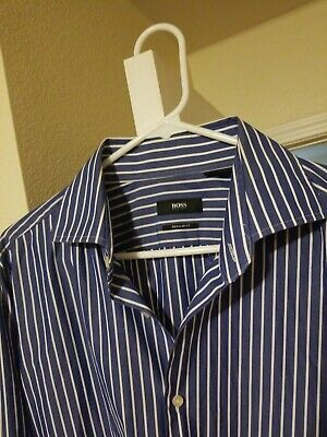 d716a431 Hugo Boss Mens Size 42, 16.5 Button Down blue and white Striped Dress Shirt