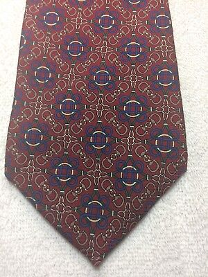 Brass And Leather Mens Tie Burgundy With Blue Green And Gray 3.75 X 59