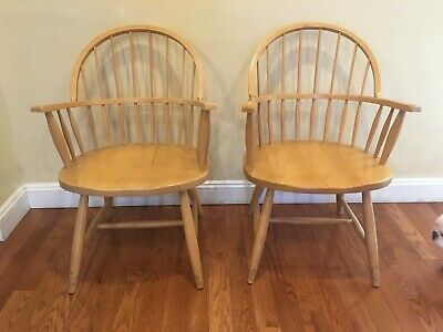 Pair of Mid Century Antique Farmhouse Hand Made Windsor Arm Chair