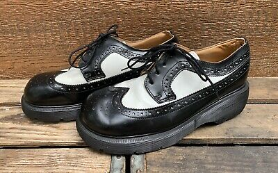 68fb17c935 DR MARTENS 8604 Black White Leather Brogue Wingtip Oxford Shoes Womens UK 6  US 8