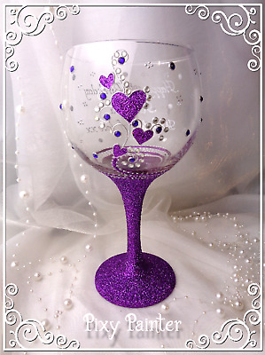 Hearts Glitter Purple GIN Balloon Glass PERSONALISED Hand Painted Gift wrapped