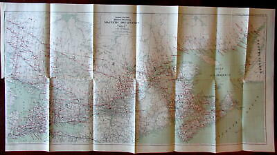 Canada Great Lakes to Nova Scotia c.1920 Magnetic Declination large Interior map