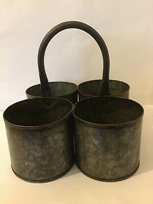 Antique Spice Canisters Carriers Galvanised Metal X4 Can