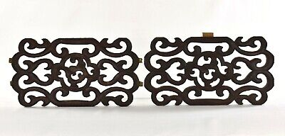 Pair of Antique Chinese Black Wooden Carving / Carved Panel 19th c