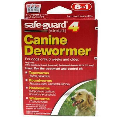 SafeGuard Panacur (fenbendazole) K9 Dogs 40 lbs 4gm 3 Pack dose All Wormer Save