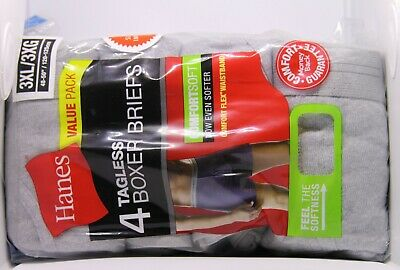 Hanes Tag less big mens' Boxer Briefs 4 Pack 3XL 100% cotton COMFORTFLEX!! S.I.