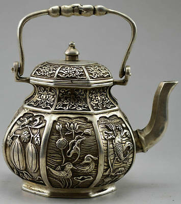 Collectible Decorated Old Silver Copper Carved Flower Bird Fish Fruit Tea Pot