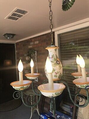 """VINTAGE ITALIAN Lamp FLORAL FAIENCE POTTERY 6 ARM CHANDELIER 25"""" DIA Green & Ora"""