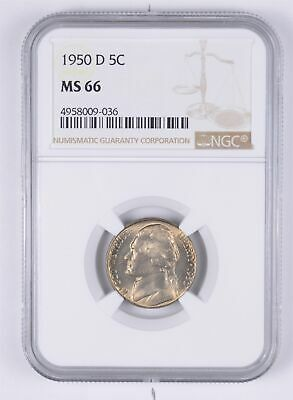 KEY DATE MS66 1950-D Jefferson Nickel - Tough - Denver Minted - NGC Graded *958