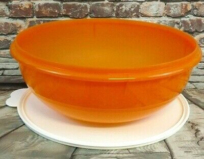 Tupperware Classic 26 Cup Fix-N-Mix Orange Mixing Bowl #274 With White Seal Lid