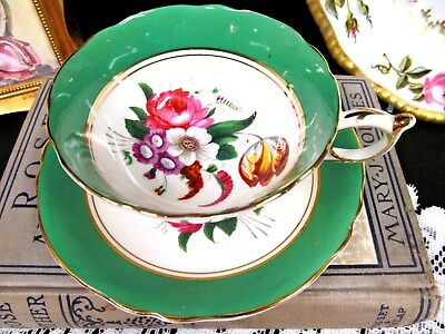PARAGON tea cup and saucer green bands & floral rose tulip pattern teacup