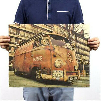 Vintage Retro Old Kraft Paper Home Office Decorating Post Retro Bus 50CM♫