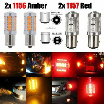 Amber 1156 BA15S+ Red 1157 BAY15D 5630 33SMD 900LM Side Markers Tail Bulb 4PCS