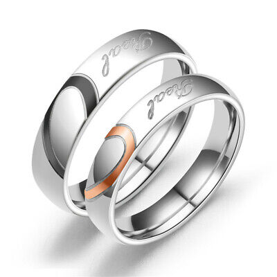 """Stainless Steel Heart Couples Promise Engagement Ring """" Real Love """" Wedding Band"""