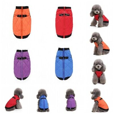 Small/ Large Pet Dog Waterproof Clothes Winter Warm Padded Coat Vest Jacket AU