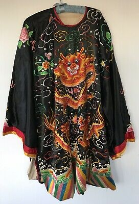 Vintage Antique 1920s  Embroidered Art Deco Opera Chinese Dragon Robe