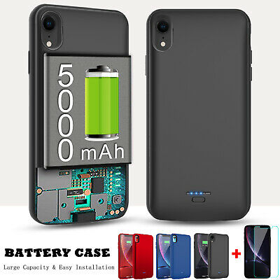 For iPhone XS Max XR Battery Phone Case Portable Charger Power +Screen Protector