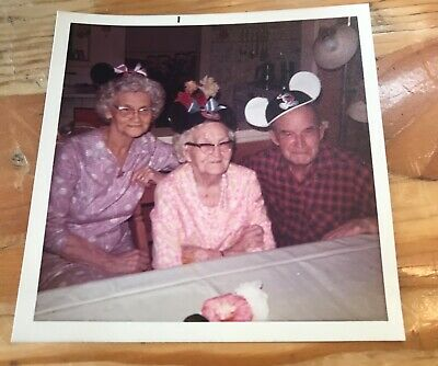 99th Birthday! Old Man, Women w Mickey Mouse Ears, Quirky 1970s Vtg Old PHOTO