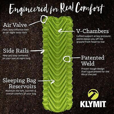Klymit Static V2 Lightweight Sleeping Pad - only 16 oz - SHIPS SAME DAY PRIORITY