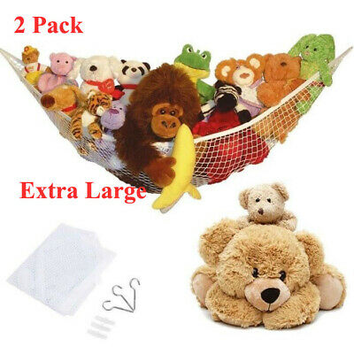2X Extra Large Soft Toy Hammock Mesh Bear Keep Baby Childs Bedroom Nursery Tidy