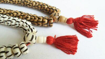 Tibetan Mala 13 x 6mm 108 Beads Natural Yak Bone Prayer Handmade Rosary Carved