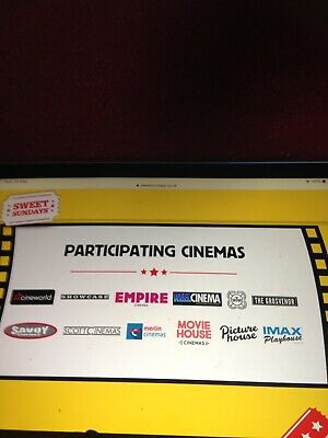 4x Tickets To Any Off The Above Cinema SUNDAY  Only Will Send You 8 Codes Email