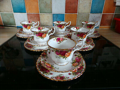 Royal Albert Old Country Roses Trios X6 Cups, Saucers, Tea Plates
