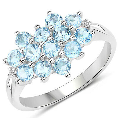 925 Sterling Silver Genuine Swiss Blue Topaz and White Topaz Ring (1.32 Carat) S