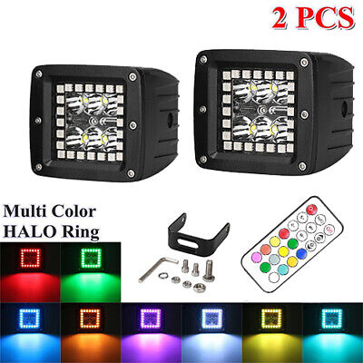 """2PC 3X3/"""" LED PODS CUBE MULTI COLOR CHANGE HALO KIT RGB LIGHT BAR WITH CONTROLLER"""