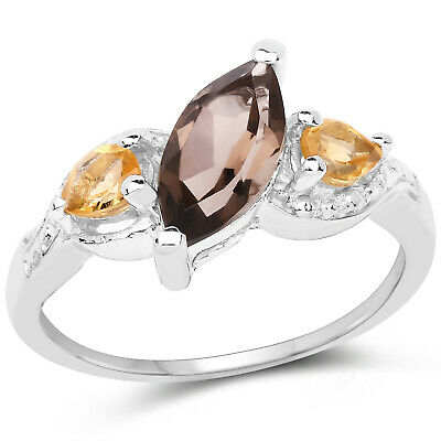 925 Sterling Silver Genuine Smoky Quartz and Citrine Ring (1.20 Carat) Size 8 -