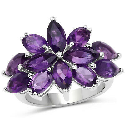 QTESNT-Q 925 Sterling Silver Genuine Amethyst Ring Multiple Sizes 1.70 Carat