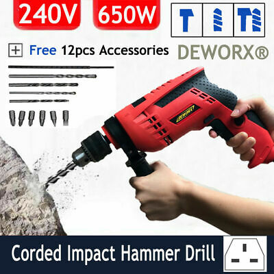 Corded Electric Hammer Drill Powerful Heavy Duty Impact Drill 13mm Key Chuck New