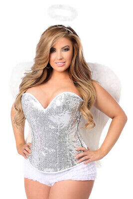 db1336670 Daisy Corsets Top Drawer 4 PC Sexy Silver Sequin Angel Corset Women s  Costume -