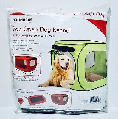 Sport Pet Designs Red Pop Open Dog Kennel X-Large For Dogs Up To 75 lbs.