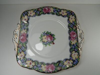 Vintage Paragon Gingham Rose Bone China Cake Plate. Double Warrant. Petit Point