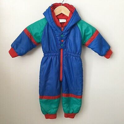Vintage Baby Boy Girl Snow Suit 6-12 Month Sno Kids Padded Hooded Retro 80s 90s