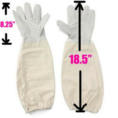 Beekeeping/Bee Gloves Soft White Goats Leather With Cotton Gauntlets Comfortable