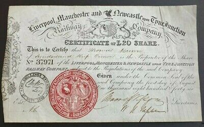 Liverpool Manchester Newcastle-upon-Tyne Junc Railway Co. Share Certificate 1846