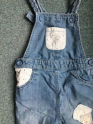 Mothercare 9-12 Months Denim Dungarees With Lace Sections