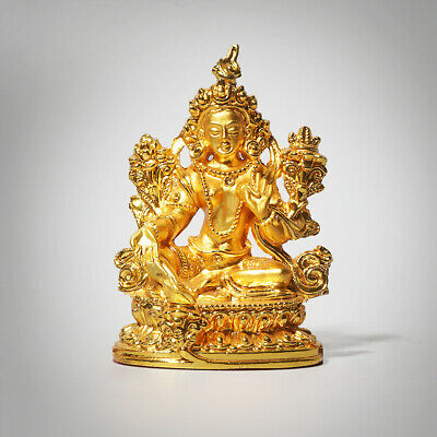 Fine Chinese Sitting Praying Buddha Statue Decor Hand-carved Home Cute Ornament
