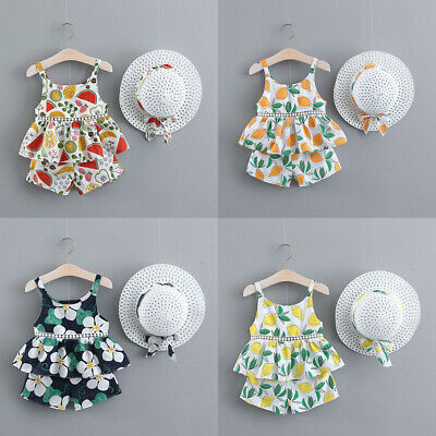 Toddler Baby Girl Strap Dress Tops+Short Pants+Straw Hat Summer Outfits Clothes