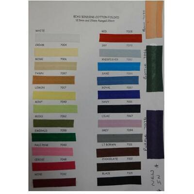 """Cotton Bias Binding 25mtr Tape Reel 1"""" / 25mm MANY COLOURS AVAILABLE"""